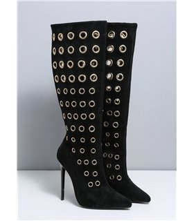 Ellie Tailor Dramatic schwarz kniehoher Stiefel Damen Herren Übergröße