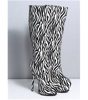 Ellie Tailor Jacey zebra schwarz weiss kniehoher Stiefel Damen Herren Übergröße