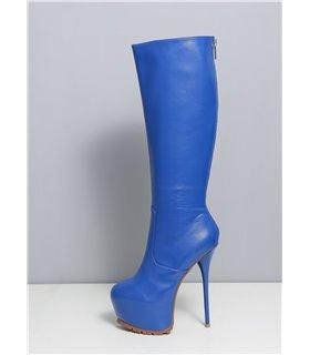 Ellie Tailor Jacey blau matt kniehoher Stiefel Damen Herren Übergröße