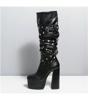 Ellie Tailor Stride schwarz matt Knee Boots Damen Herren Übergröße