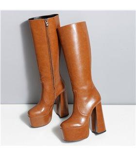 Ellie Tailor Emmy braun matt Knee Boots Damen Herren Übergröße