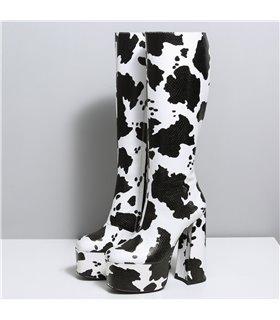 Ellie Tailor Emmy cow schwarz weiss Knee Boots Damen Herren Übergröße