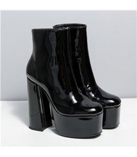 Ellie Tailor Antonia black shiny Ankle Boots Damen Herren Übergröße