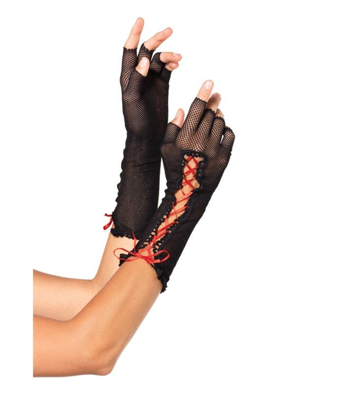 Accessoire fingerlose Fischnetz-Handschuhe schwarz/rot