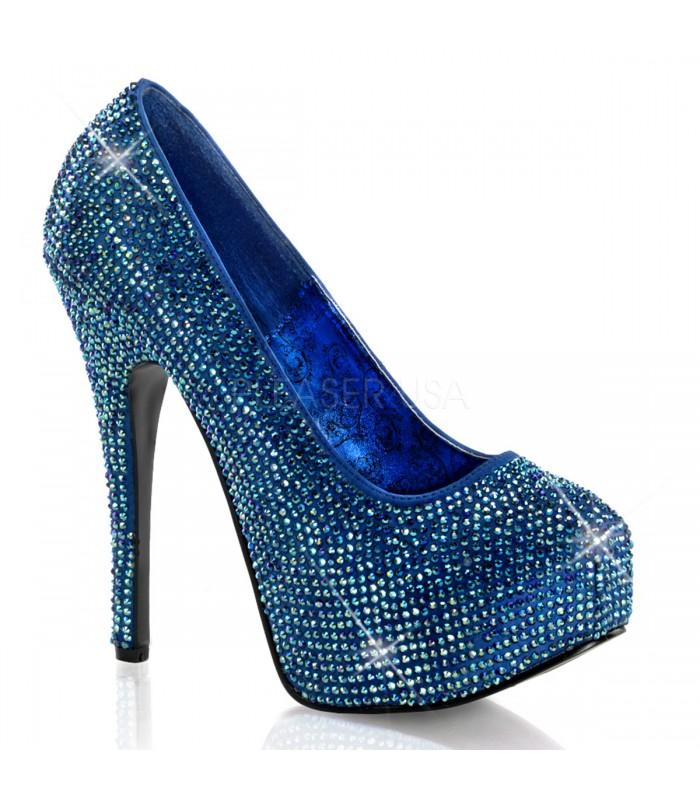 Strass High Heels TEEZE-06R - Blau