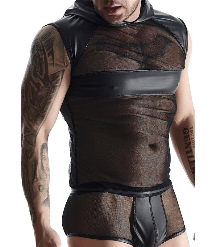 Shirt mit Kapuze im Sexy Wet-Look für Herren - Schwarz