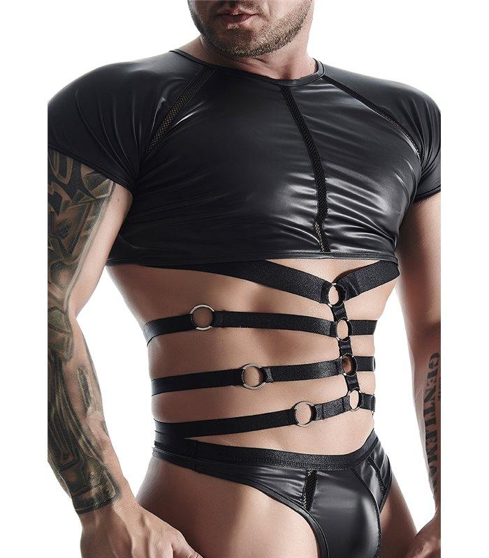 T-Shirt im Wet-Look mit lustvollen Riemen-Ringe für Herren - Schwarz