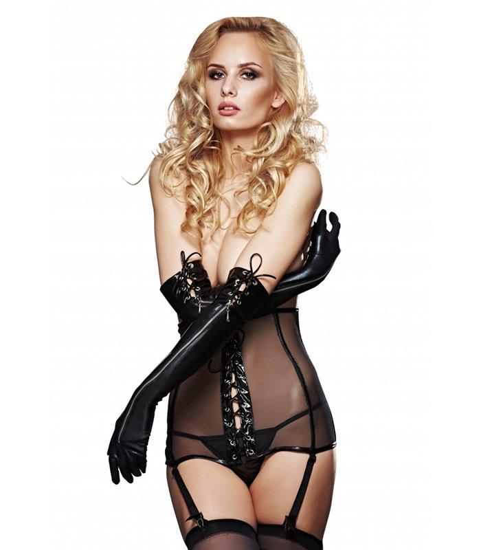 Handschuhe mit lustvollen Schnüren & Sexy Reißverschluss - Schwarz