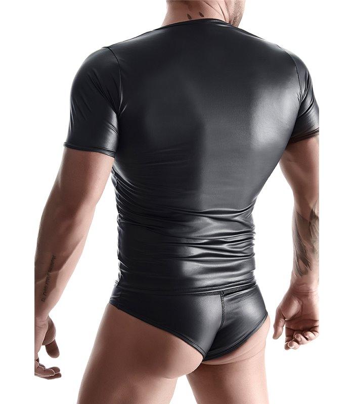 T-Shirt mit V-Ausschnitt im Sexy Wet-Look für Herren - Schwarz