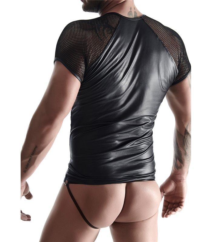 T-Shirt mit Fischnetz-Ärmel im Sexy Wet-Look für Herren - Schwarz