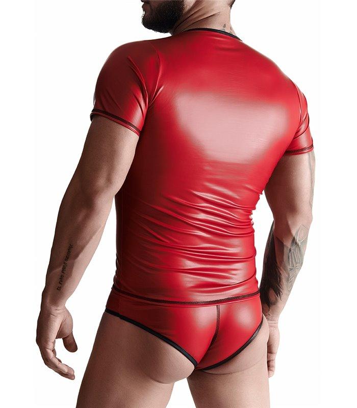 T-Shirt mit V-Ausschnitt im Sexy Wet-Look für Herren - Rot